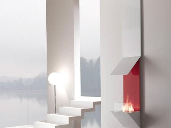 Minimalist Wall Mount Fireplace By Fontana Forni