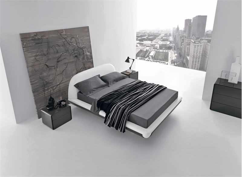 Minimalist bed for modern bedroom fusion by presotto for Minimalist bedroom design