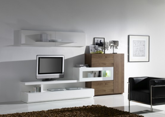 Minimalist furniture for modern living room day from for Mobile home furniture arrangement