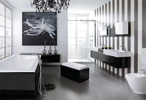 Modern black and white bathroom design from noken digsdigs for Black and white modern
