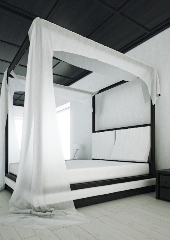Modern Black And White Canopy Bed Wind By Mazzali : wind curtain for canopy - memphite.com