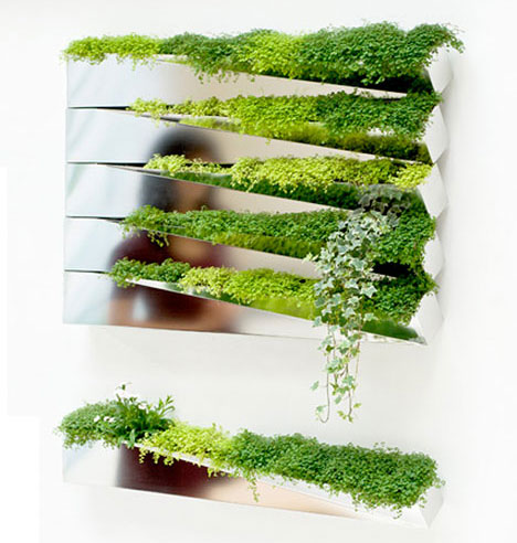 Modern Green Wall Decoration – Grass Mirror by H2o Architects
