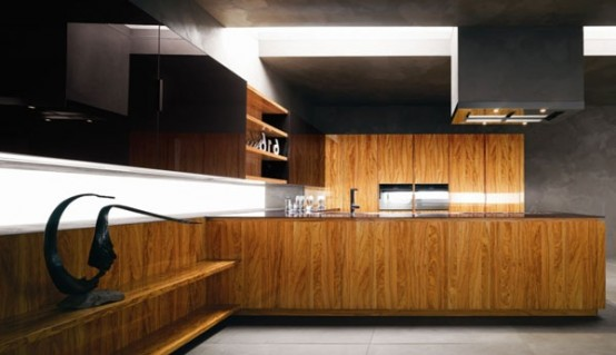 Modern Kitchen In Wooden Finish