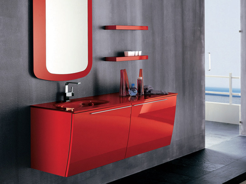 Modern red bathroom furniture home decorating ideas for Red bathroom designs
