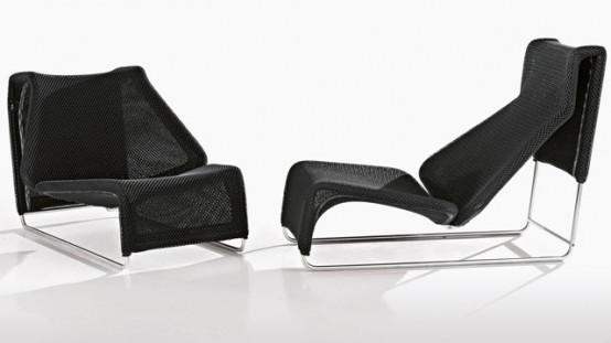 modern and comfortable chaise lounge from outdoor collection by bu0026b italia