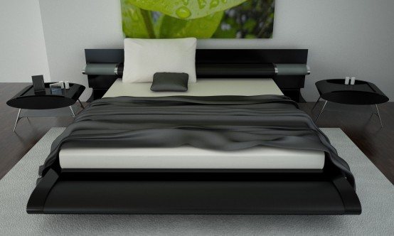 Contemporary-luxury-bedroom-with-black-framed-soft-big-bed-bedside-plastic-table