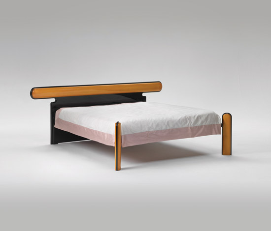 modern bed with stylish wooden finish bicolore by azucena