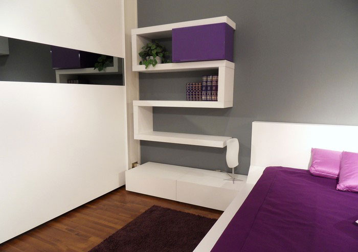 Modern bedroom design with unusual wall shelves digsdigs Bookshelves in bedroom ideas