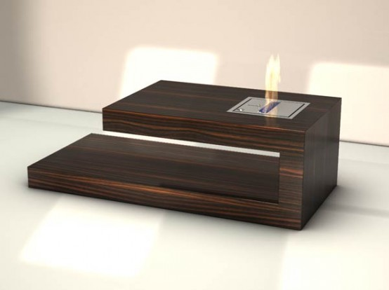 Modern Coffee Table With Built in Fireplace Fire Coffee