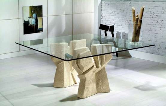 Modern dining table with stone base vicenza shapes from for Dining table base ideas
