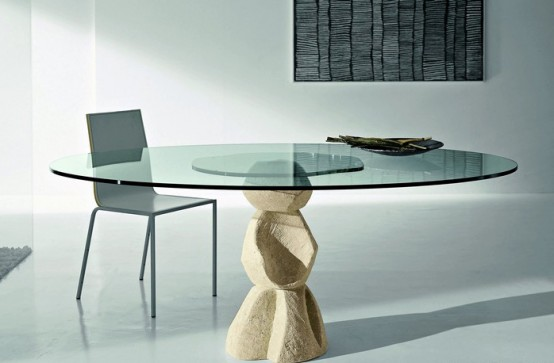 Modern Dining Table With Stone Base Vicenza Shapes From Diotti A&F