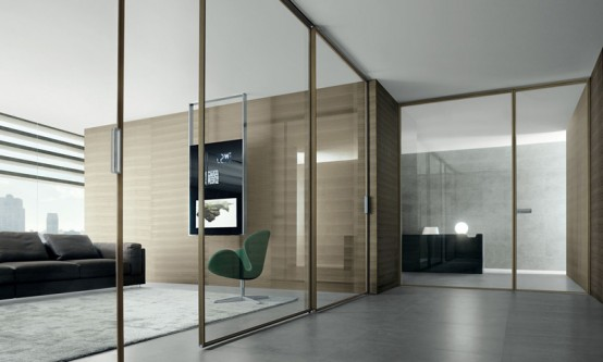 Home Office Decorating Ideas: Modern Interior Glass Doors by Rimadesio