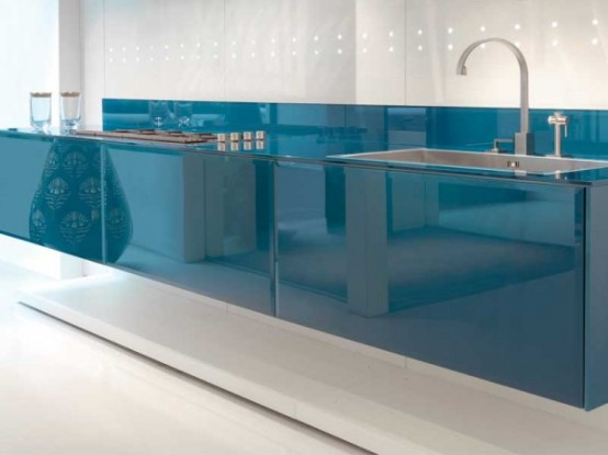 Modern Kitchen Design with LED Lights and Cobalt Finish By Scic