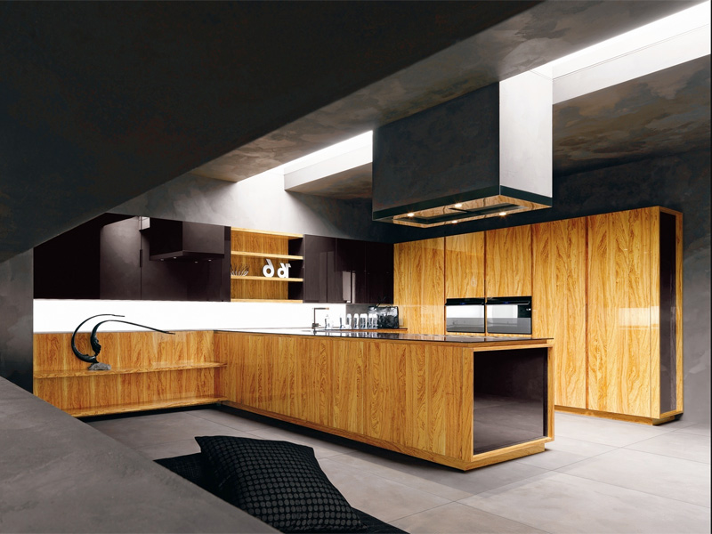 Modern kitchen with luxury wooden and marble finishes for Modern kitchen furniture design