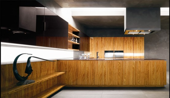 Modern Kitchen With Luxury Wooden Finish Yara Vip By Cesar