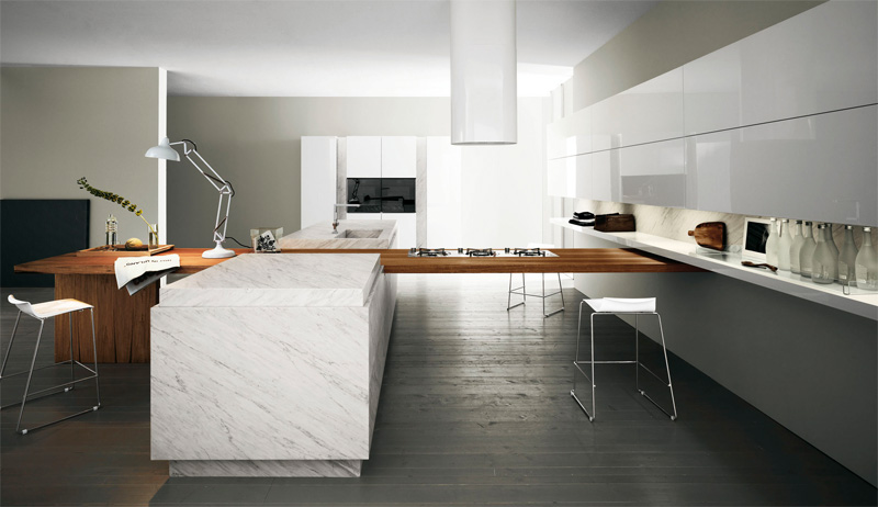 Modern kitchen with luxury wooden and marble finishes for Contemporary kitchen style