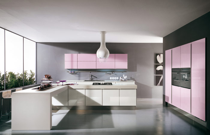 Modern violet and pink kitchen by cucine lube digsdigs - Red and grey kitchen designs ...