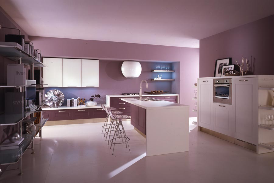 Modern violet and pink kitchen by cucine lube digsdigs for Mauve kitchen walls