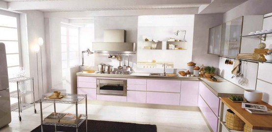 Modern Violet And Pink Kitchen By Cucine Lube