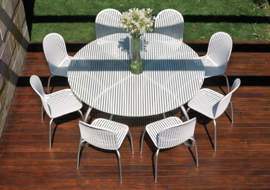 Nardi Patio Furniture.Modern White Outdoor Tables And Chairs Loto Ninfea From Nardi