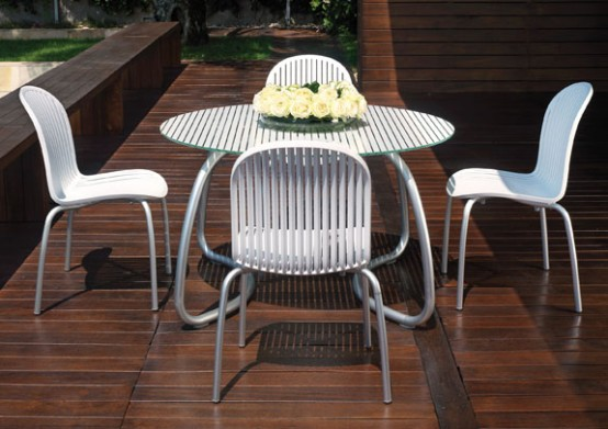 Modern White Outdoor Furniture modern white outdoor tables and chairs - loto & ninfea from nardi