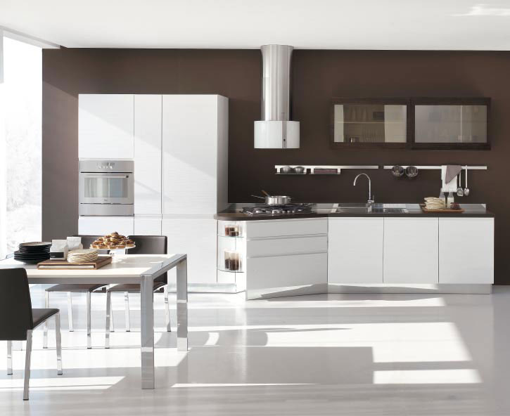 New modern kitchen design with white cabinets bring from for White kitchen wall color