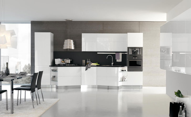 New modern kitchen design with white cabinets bring from for Modern black and white kitchen designs