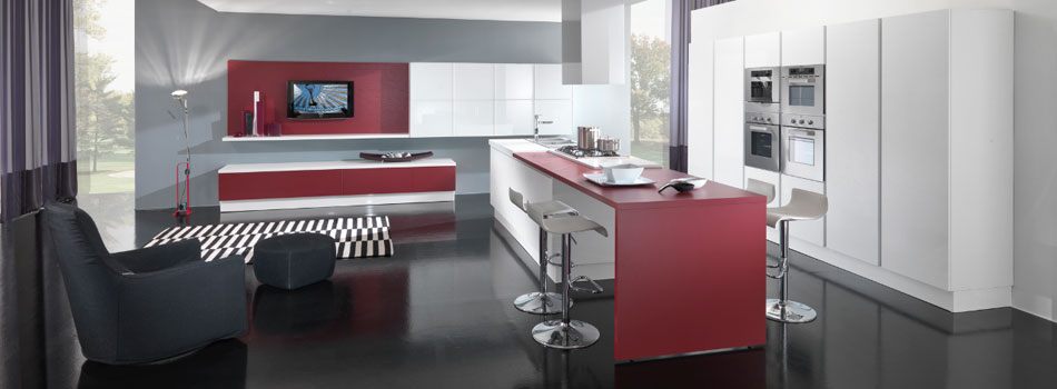 New Modern Kitchen Design with Red and White Cabinets – Ego by Vitali Cucine