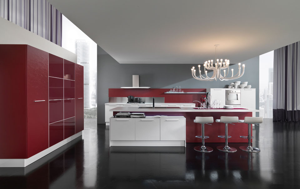 New modern kitchen design with red and white cabinets for Latest kitchen units designs