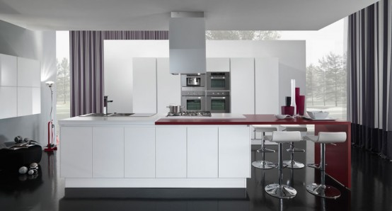 New Modern Red And White Kitchen Design Ego By Vitali Cucine