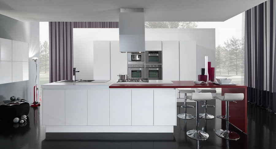 You could get more information about this modern red and white kitchen on