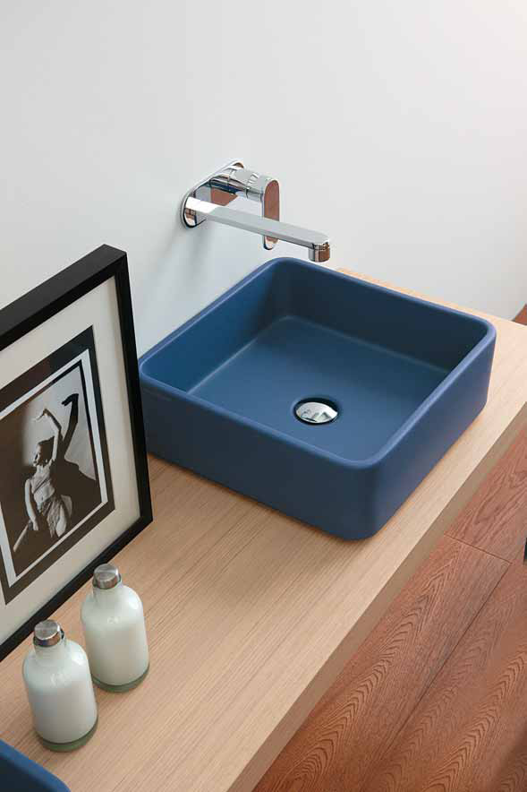 New Nice Blue Wash Basin for Small Bathroom – Robbiano Blue by Ceramica Flami # Wasbak Smal_182304