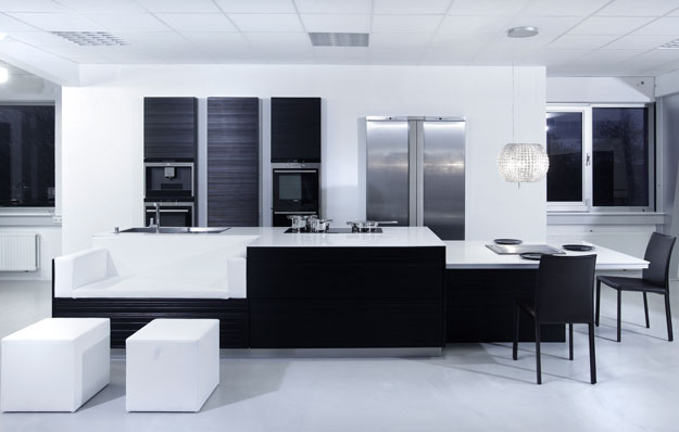 New modern black and white kitchen designs from for Modern kitchen inspiration