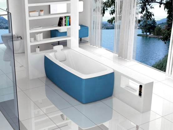 New Modern Blue Bathtub Lucky Color By Blubleu Digsdigs