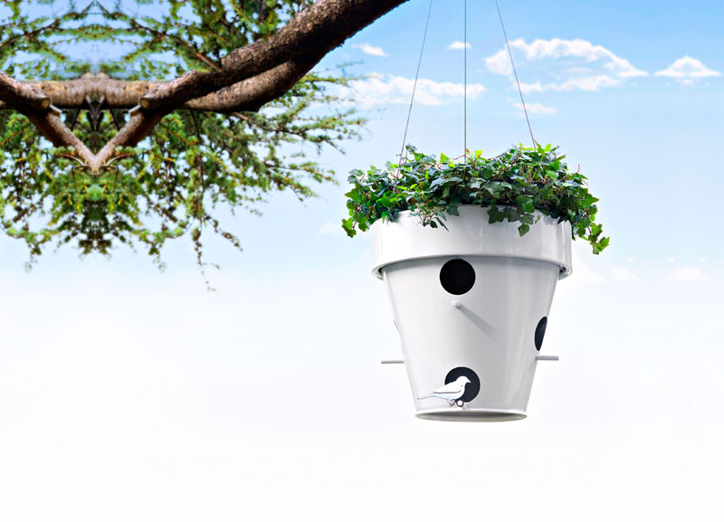 Nice Outdoor Flowerpot with Bird House – O-Nest_O by De Castelli