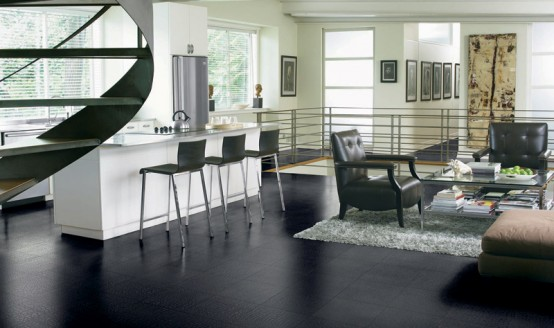 Novara Black Tile Leather Floors
