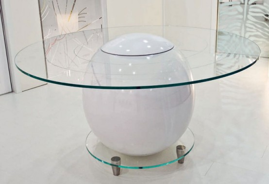 Original Glass Top Round Office Table Saturno By Staino&Staino
