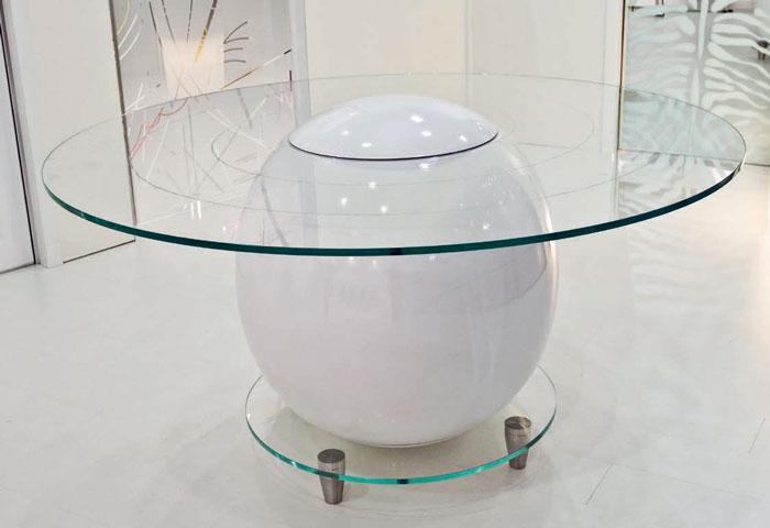 Original Glass Top Round Office Table Saturno By Staino&Staino
