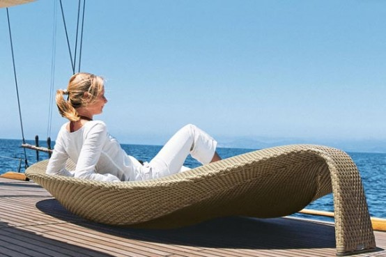 Outdoor Wicker Chaise Lounge Leaf By Dedon Digsdigs