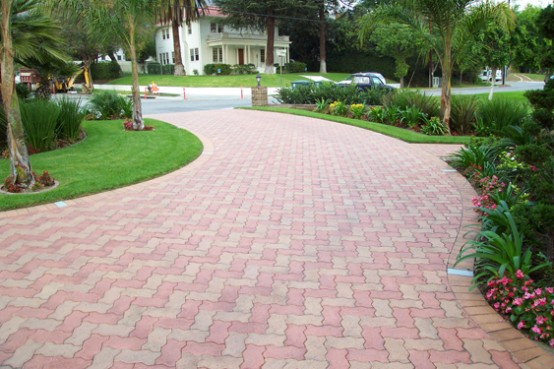 Awesome Paving Stone Driveway Design Ideas
