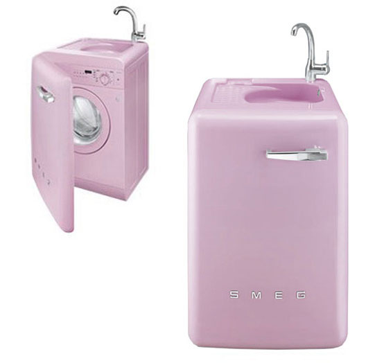 Pink space saving washing machine lbl16ro by smeg digsdigs - Small space washing machines set ...