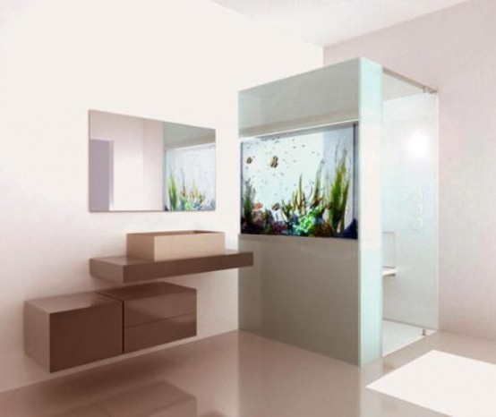 Shower With A Built-In Aquarium