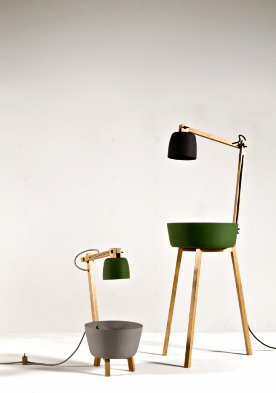 Porcelain And Oak Lamps