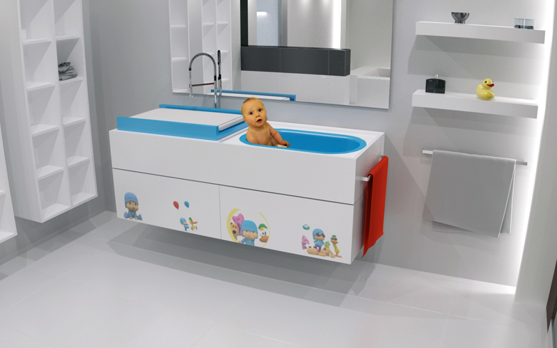 Practical Bathroom Furniture With Integrated Baby Tub By