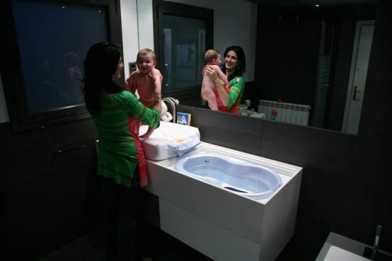 Practical Bathroom Furniture With Integrated Baby Tub By Herms