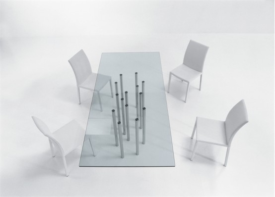 Rectangle And Round Glass Top Dining Tables Mille By  Bonaldo