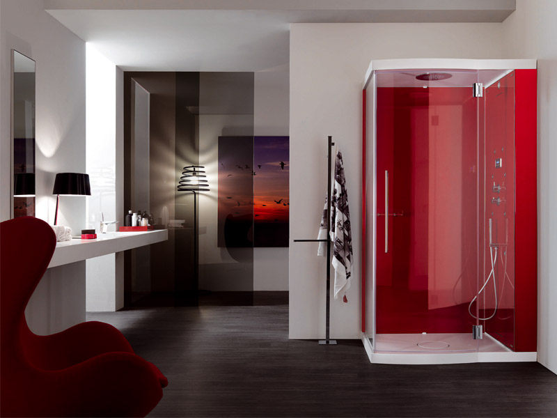 Red shower cabin for modern bathroom design alya by samo for Red bathroom designs