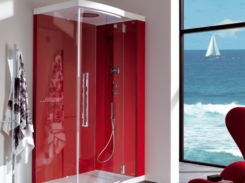 Red Shower Cabin For Modern Bathroom Design