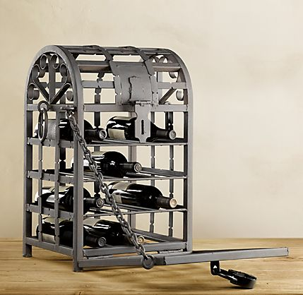 Rustic Metal Wine Cage From Restoration Hardware