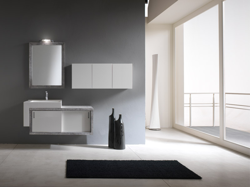 Simple and modern bathroom cabinets piquadro 2 by bmt for Simple modern kitchen cabinets